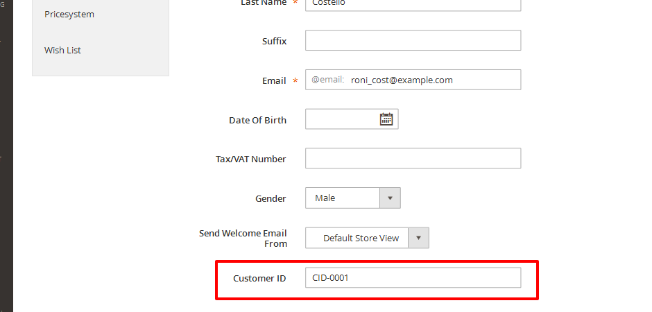 CustomerId on customer edit page in admin