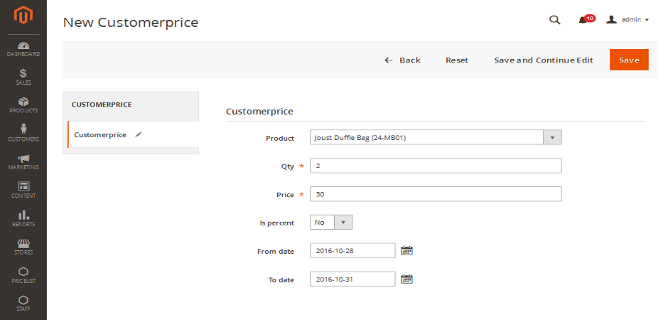 Pricesystem Admin - Add Customer price for product