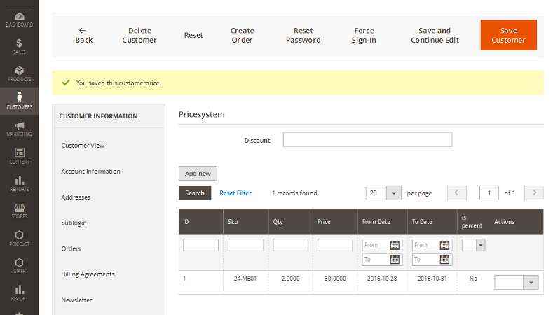 Pricesystem Admin - Customer price for product is added