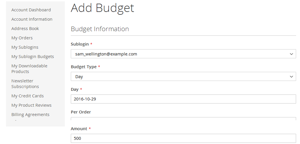 Frontend - Customer add subogin budget