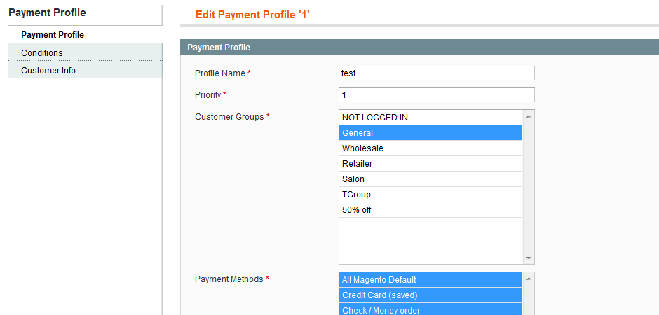 magento set up different payment profiles per customer